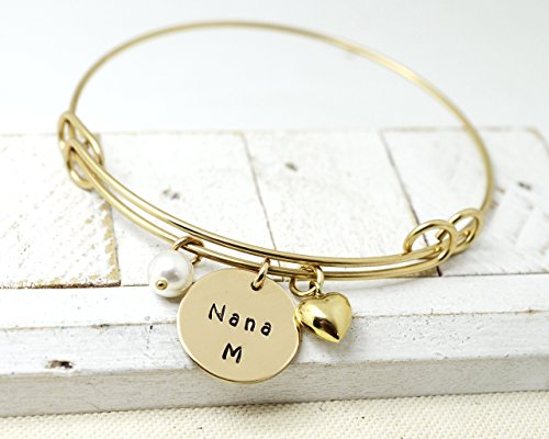 Bangles Drop It (14K Gold Filled Personalized Nana Expandable Bangle Bracelet - Grandmother Customized Gift for Her)