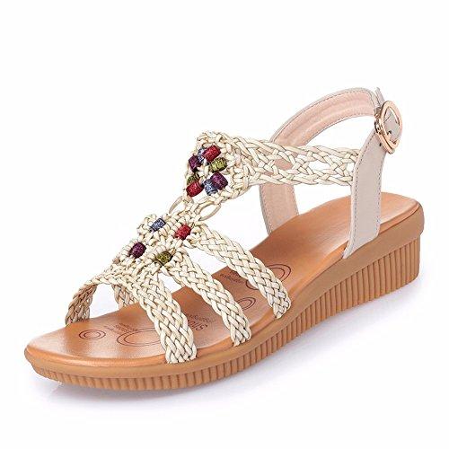 No. 55 Shoes Onorevoli Sandali Estate Pendenza con Centinaia di Spiaggia sabbiosa Donne Incinte Anti-Scivolo per Gli Studenti della Moda con Scarpe da Donna,US7.5/EU38/UK5.5/CN38,Bianco cremoso