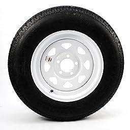 eCustomrim Radial Trailer Tire Rim ST205/75R15 Load C 15X5 5-5 White Spoke 58961