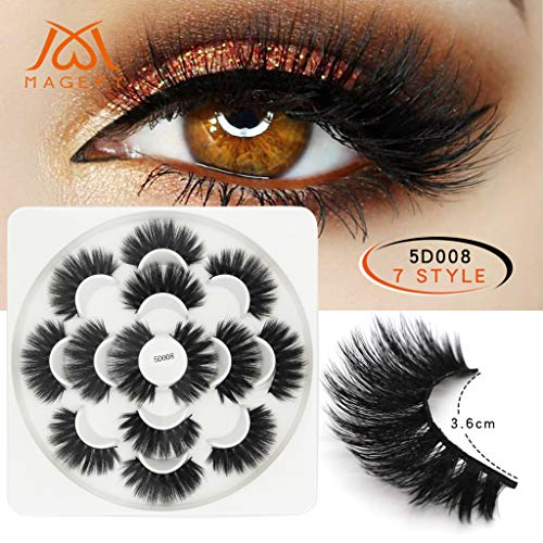 Ktyssp 7 Pair Makeup Lashes Party 5D False Eyelashes Sexy Lashes Voluminous Eye Lashes ()