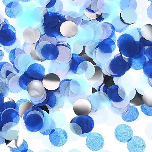 TecUnite Round Tissue Paper Table Confetti Dots for Wedding Birthday Party Decoration, 1.76 oz (White Blue Confetti)
