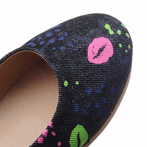 Charm Foot Mujeres Denim Tela Casual Comfort Zapatos Planos Negro