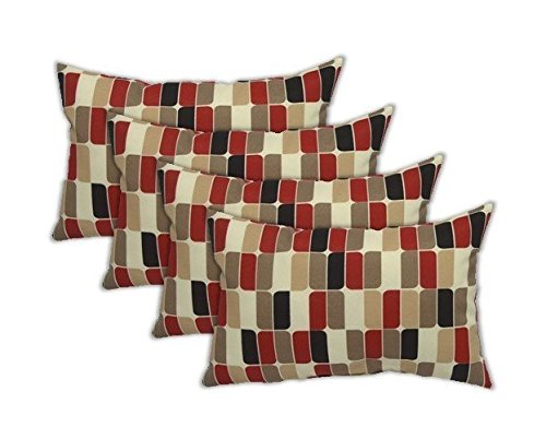 Set of 4 Indoor / Outdoor Decorative Lumbar / Rectangle Pillows - Red Tan Blk Pattern (8717) by Resort Spa Home Decor