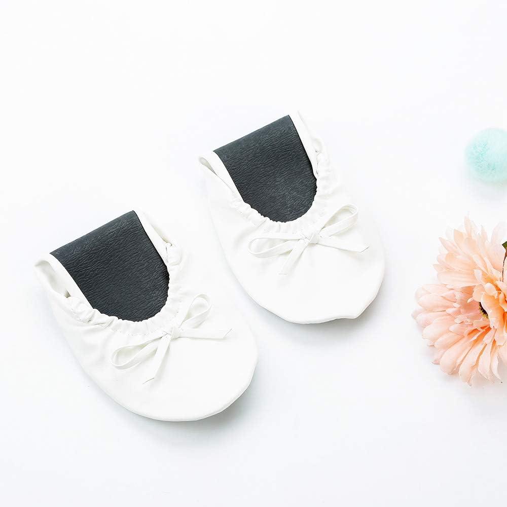 JOINFREE Zapatillas de Ballet Plegables Bailarinas portátiles enrollables con Bolsa para Mujer Medio Blanco/Negro/Rosa/Rojo/Oro: Amazon.es: Zapatos y complementos