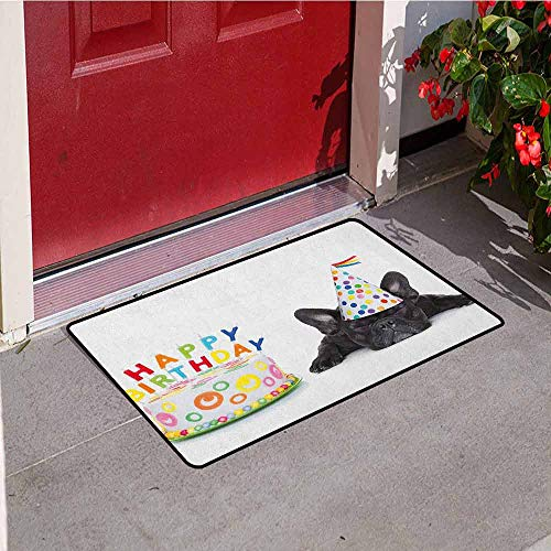 GloriaJohnson Kids Birthday Commercial Grade Entrance mat Sleepy French Bulldog Party Cake with Candles Cone Hat Celebration Image for entrances garages patios W19.7 x L31.5 Inch Multicolor
