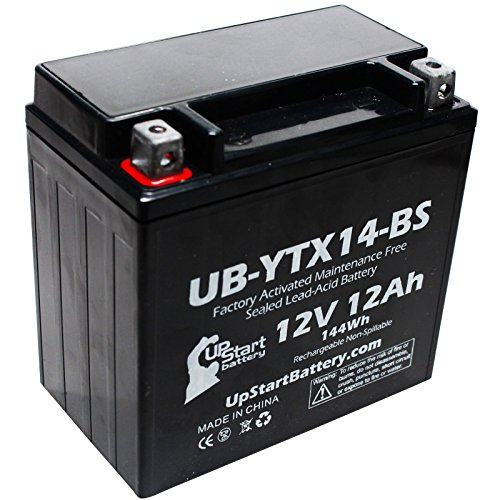 YTX14-BS Battery Replacement (12Ah, 12v, Sealed) Factory Activated, Maintenance Free Battery Compatible with - 2006 Yamaha Apex, 2008 Yamaha Apex, 2011 Yamaha Apex, 2007 Yamaha Apex, 2009 Buell - Wheeler Four 12 Volt Battery