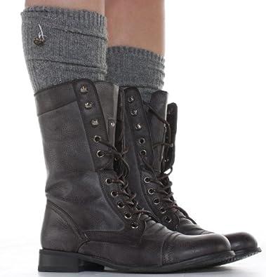 shoefashionista -Bottes à lacets Femme Militaire Noir Vintage Chaussures Plates  Bottines 39db31e25f9b