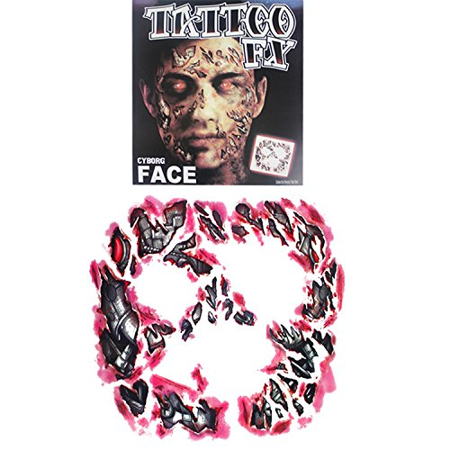 Temporary Cyborg Face Scar Sticker, The Best Tattoo for Halloween|Masquerade|Cosplay Etc, Zombie Scars with Fake Scab Blood Costume Makeup Water Proof Face Paster Kit(Type 1)