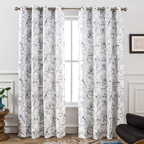 DriftAway Ryan Sketch Branch Leaves Blackout/Room Darkening Grommet Lined Thermal Insulated Energy Saving Window Curtains, 2 Layer, Set of Two Panels, Each 52