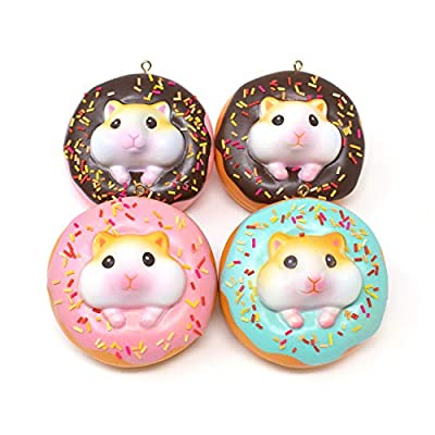 Soft & Cute Hamster Donut Squishy [The Sweet Life Series] (Golden Hamster, 2.63 Inch, 4 Piece Set) [Easter Basket Stuffers, Party Favors, Stress Relief Toys for Kids]: Toys & Games
