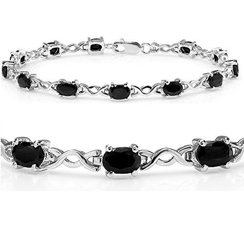 - 7ct tgw Sapphire Infinity Tennis Bracelet set in Sterling Silver ( 7 1/4 inches)