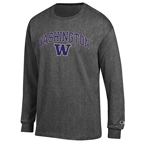 Elite Fan Shop Washington Huskies Long Sleeve Tshirt Varsity Charcoal - L