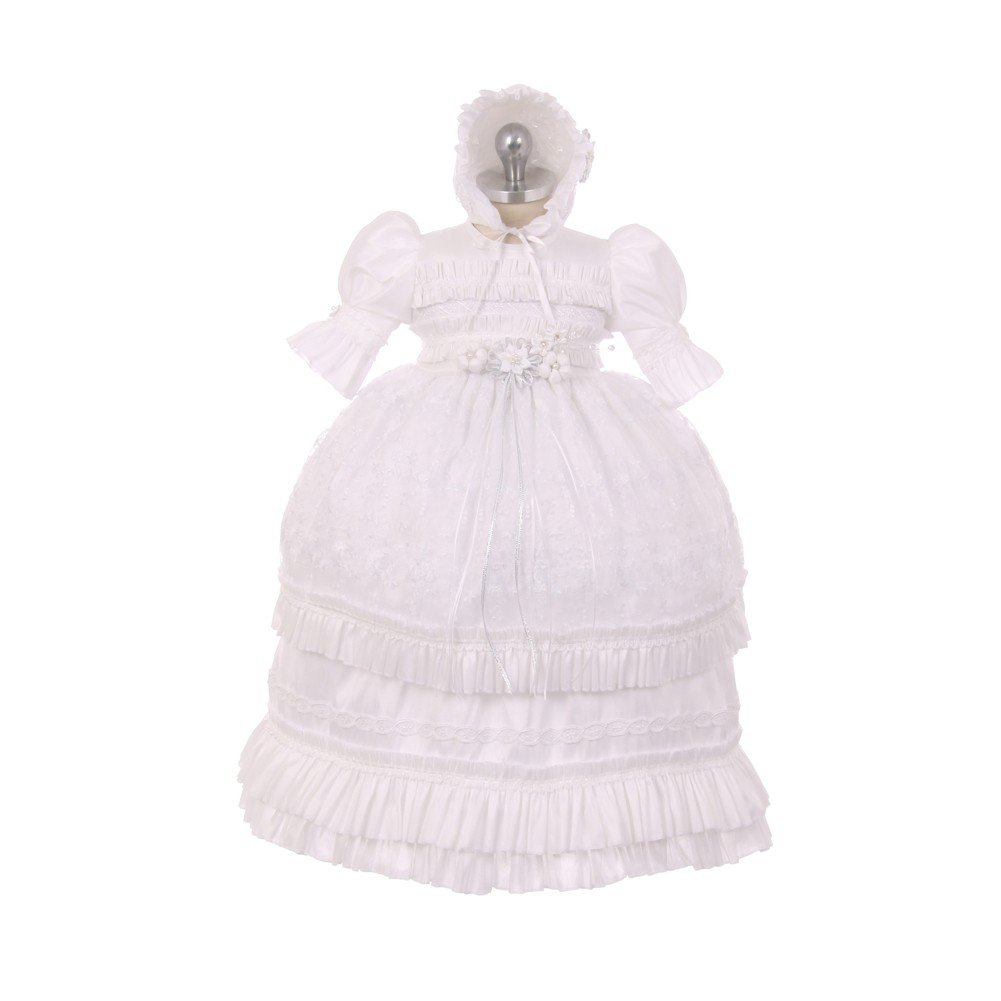 RainKids Baby Girls White Shantung Floral Ruffle 3 Pc Bonnet Baptism Gown 12M