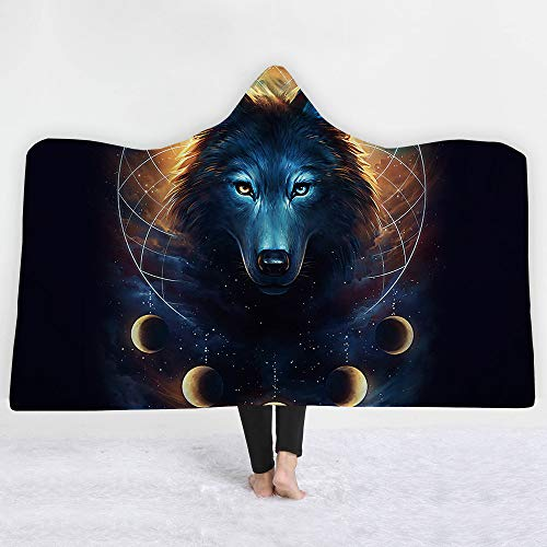 (Creative Colorful Wolf Print Art Wild Animal Hooded Blanket Luxuy Thickened Hypoallergenic Sherpa Fleece Blanket Ultra Soft and Warm Winter TV Computer Throwing Blanket for Adults & Kids)