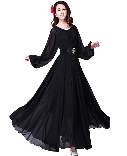 Medeshe Women\'s Long Sleeved Formal Chiffon Plus Size Maxi ...