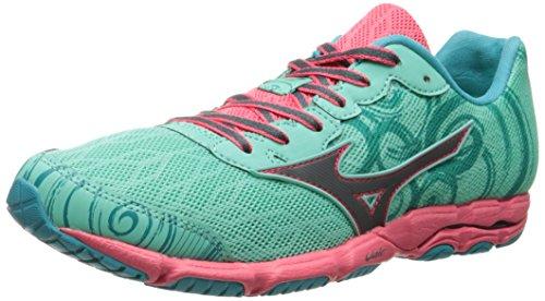 Mizuno Wave Hitogami 2Zapatilla de Running de la mujer Green-Gray-Pink