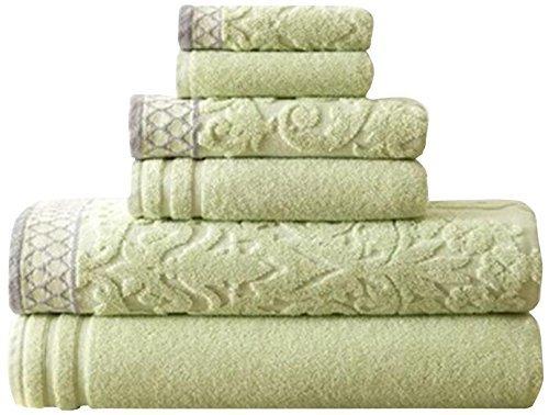 Solid Combed Towel Set (Amrapur Overseas 6-Piece Damask Jacquard/Solid Ultra Soft 550GSM 100% Combed Cotton Towel Set with Embellished Borders [Sage])