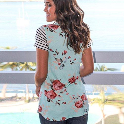 Women's Tops,Neartime tripe Short Sleeve Flower Printed T-shirt Blouse Fake Pocket (M, Blue) Photo #5
