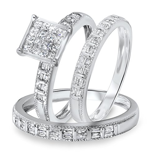 jsjewels 1 1/3 CT D/VVS1 Diamond Women's & Men's Engagement Trio Ring Set in 14K White Gold Fn