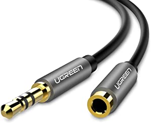 UGREEN 3.5mm Male to Female Extension Stereo Audio Extension Cable Adapter Gold Plated Compatible for iPhone, iPad, Smartphones, Tablets, Media Players Black PVC (6FT)