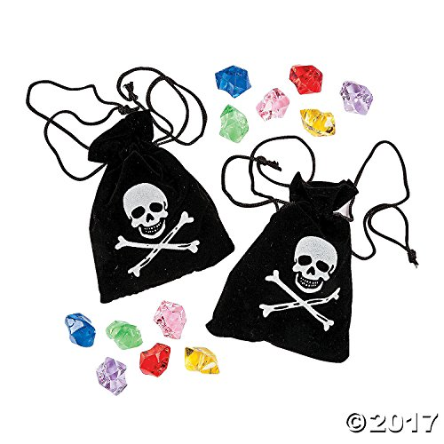 Fun Express Suede Pirate Drawstring Bags with Jewels (1 Dozen)