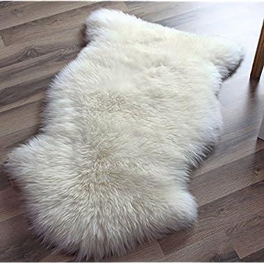 Genuine Australian Sheepskin Rug One Pelt Ivory Natural Fur, Single, Approx. 2ft. x 3ft.