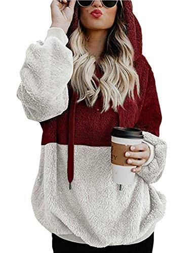 Women's Juniors Pullover Sweatshirts Hooded with Pocket Fuzzy Warm Casual Long Sleeve Tops Wine Red XL (Ladies Christmas Pretty Sweaters)