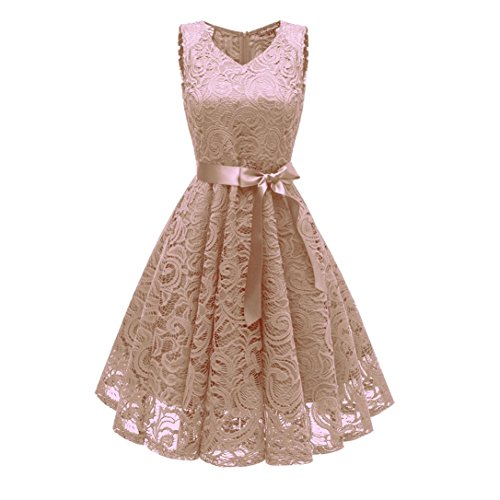 (Vintage Princess Dress for Women Swing Dress Floral Lace Cocktail V-Neck Party Aline)