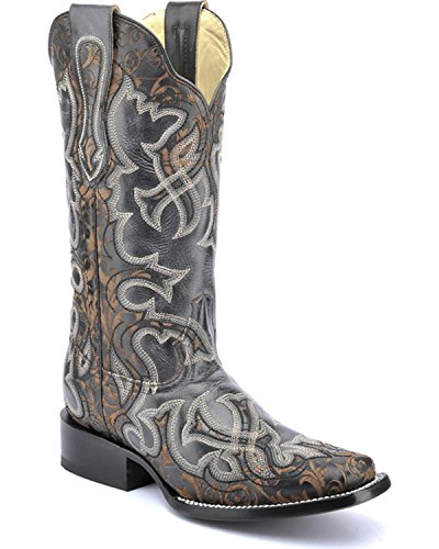 CORRAL Womens Vintage and Laser Cowgirl Boot Square Toe - G1308 Black ZwkEgSttw