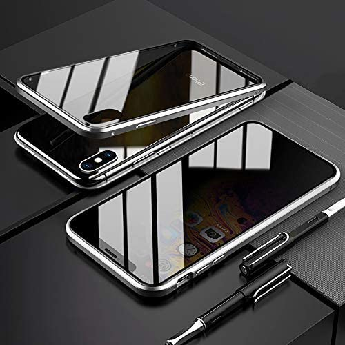 black CCENJOY For iPhone Xs max Magnetic Case,Privacy Phone Case with Double Side Tempered Glass Metal Frame dsorption Metal Bumpe Shock-Absorption Anti-Scratch,Anti-peeping