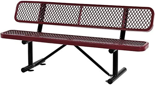 72 L Expanded Metal Mesh Bench with Back Rest, Red