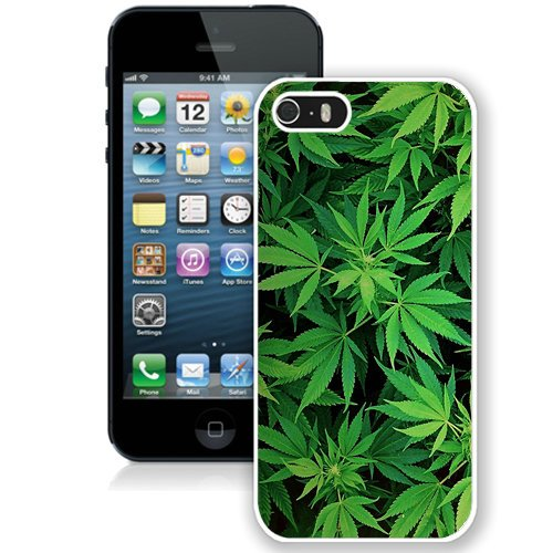 Coque,Fashion Coque iphone 5S Green Leaf Pattern blanc Screen Cover Case Cover Fashion and Hot Sale Design