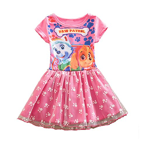 PCLOUD Girls' One Piece Cute Dog Summer Short Sleeved Printing Dress Rose/Purple