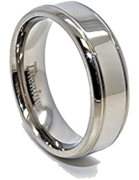Unisex 7mm Polished 2 Grooves Titanium Wedding Band Engagement Ring Available In Sizes 4 15