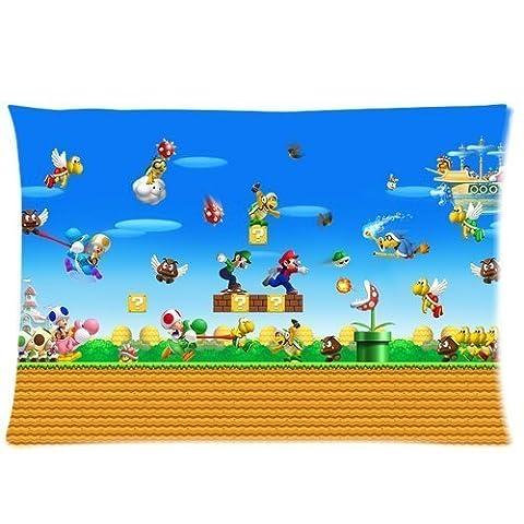 Custom Super Mario Brothers Home Decorative Pillowcase Pillow Case Cover Standard Size 20x30 Inch Two (Mario Bedroom Decor Furniture)