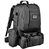 CVLIFE Tactical Military Backpack 60L Built-up Army Rucksacks Outdoor 3 Day Assault Pack Combat Molle Backpack for Hunting Hiking Fishing with Flag Patch Black