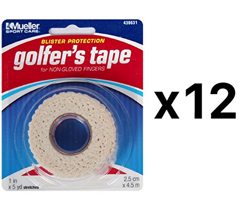 Mueller Golfer's Conforming Elastic Protective Finger Grip Tape 1''x5yd (12-Pack) by Mueller