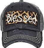 H-212-BLESSED06 Distressed Baseball Cap Vintage Dad Hat - Blessed (Leopard/Black)
