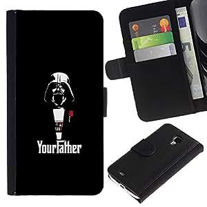 EJOY---Tirón de la caja Cartera de cuero con ranuras para tarjetas / Samsung Galaxy S4 Mini i9190 / --Yourfather Estrella Guerra Darth Vade