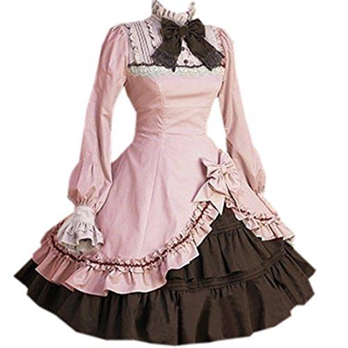 Kleider Damen Schleife Langarm Sweet Stehkragen Partiss Lolita Rosa Unregelmaessiges xgZw60ZFq