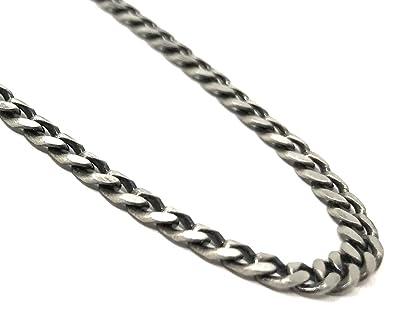 07133cd1d0dde4 Men's Oxidised Sterling Silver Curb Link Chain Necklace - 51CM ...