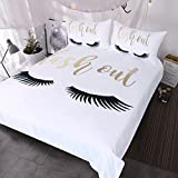 BlessLiving Eyelash Bedding Gold and Black Cute Eyes Pattern Quilt Cover Set 3 Piece Funny Duvet Cover for Fashion Girls (Queen)