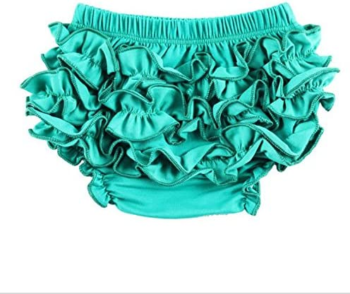 Gouerping Lovely Baby Girl PP Pants Ruffle Pants Bloomers Diaper Cover S-Green