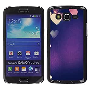 Design for Girls Plastic Cover Case FOR Samsung Galaxy Grand 2 Colorful Blue Purple Heart Love Lights OBBA