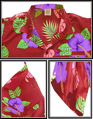 Fiesta Flores De Bolsillo Granate Leela w341 Impreso Hombres Corta La Vestido Informal Tirantes Tropical Aloha Para Los Trabajo Frontal Camisas Manga tHqZxYXw