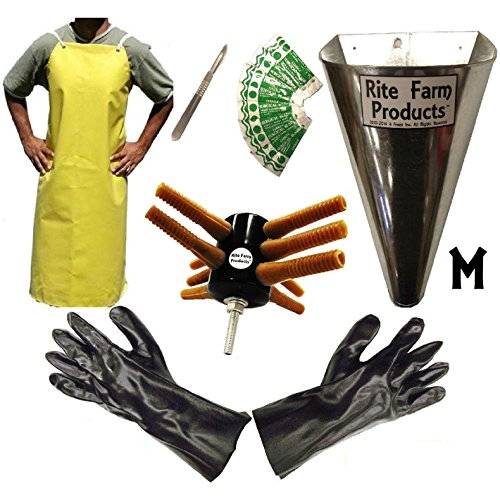 L10 PROCESSING KIT DRILL PLUCKER MEDIUM KILL CONE 10 BLADE SCALPEL APRON GLOVES CHICKEN POULTRY by Rite Farm Products