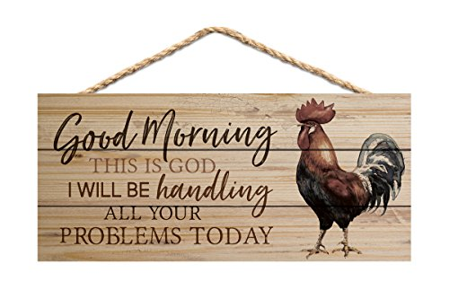 Good Morning This is God Rooster 10 x 4.5 Inch Pine Wood Decorative Hanging Sign