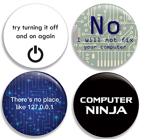 Funny Computer/IT Pinback Buttons (2.25 inches) - Set of 4