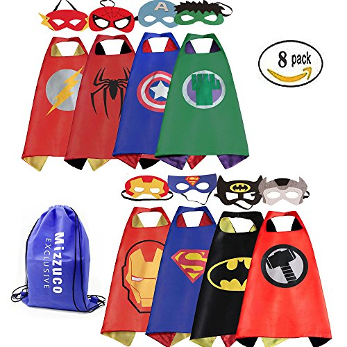 Mizzuco Cartoon Dress up Costumes Satin Capes with Felt Masks for Boys (8PCS)