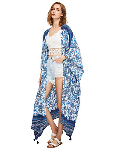 SweatyRocks Women's Tassel Trim Maxi Kimono Cardigan Long Beach Cover Up One Size ()